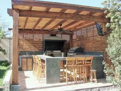 Architecture of Houses: Models of quinchos for roasts. Outdoor Kitchen Patio, Casa Patio, Outdoor Kitchen Design, Outdoor Living, Outdoor Spaces, Wooden Pergola, Diy Pergola, Pergola Ideas, Pergola Kits