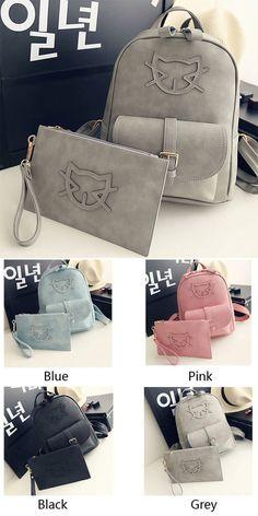Which color do you like?Sweet Girl Bag Kitten Head Rucksack Mini Summer College Backpack #backpack #college #bag #school #fresh #rucksack #cat