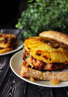 Chicken Teriyaki Burgers with Caramelized Onions & Grilled Pineapple
