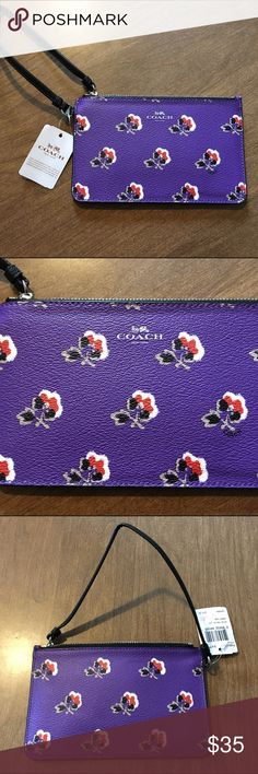 "NWT Coach Brumble Rose Small Wristlet This is an adorable little wristlet perfect for just the essentials. It's in the pattern Bramble Rose in purple and is brand new with tags. The closure is a zipper and there are slots for your cards inside. Measurements are 4.5"" x 7.5"". It's a flat wristlet by Coach but like I said it's great for essentials. Coach Bags Clutches & Wristlets"