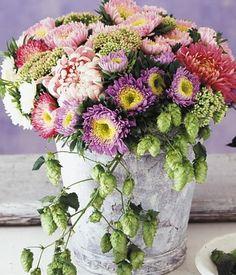 Zarter Lichtblick im November: Strauß mit Chrysanthemen und Astern im Pastell-Look.