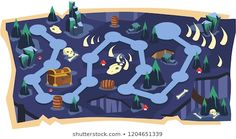 Deadly Cave Game Maps with Path and Dark land with Bone, Skull, Fossil Dinosaurs, Golden Crates and Dark Mountain Vector Illustration