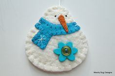Cotton Batting Snowman Turquoise Blue Wool door WoollyBugDesigns