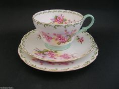 Shelley Rare Pink Blossoms Bone China Trio Cup Saucer Plate Henley Shape 13523