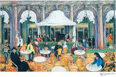 Venice, Italy, Cafe Florian Restaurant, St. Marks Square print in 2 sizes; painting by Ray Sokolowski.