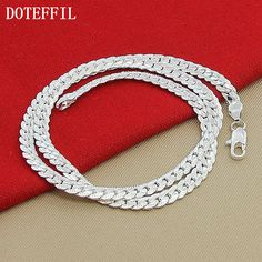 Woman 925 Sterling Silver Necklace Fashion Charm 6mm Sideways Necklace New Arrivals Women Men Necklace Jewelry