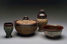 Image of collection of work including cup, covered dish, vase, bowl Ceramic Planters, Ceramic Mugs, Ceramic Bowls, John Stephenson, David Mcdonald, Hampton University, Potters Clay, Black Artists, Pattern And Decoration