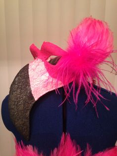 My DIY Flamingo mask for my Halloween Costume 2014! Paper mâché, added lace with spray adhesive glue and painted it after the glue dried. The added feather is for the hair #handmadebyLiz