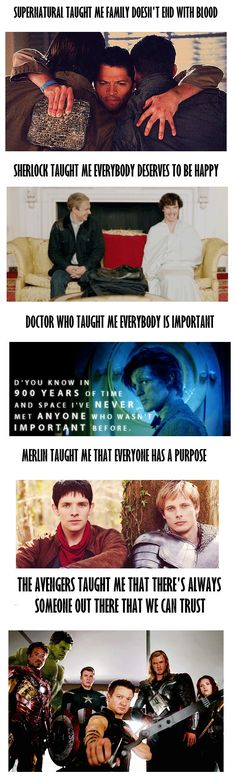 what my fandoms taught me <3 (except I have yet to really go crazy over Merlin and dr who. I'm finishing with lost and the office. Don't judge :P)