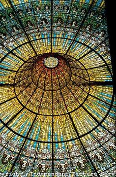 Stained Glass Ceiling in the Palace of Catalan Music, Barcelona, Spain