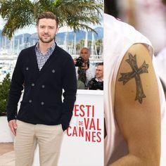 Pin for Later: Stars et Tatouages, une Grande Histoire D'amour  Justin Timberlake a une grosse croix tatouée sur son épaule gauche.