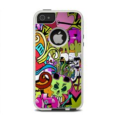 The Vibrant Colored Vector Graffiti Apple iPhone 5-5s Otterbox Commuter Case Skin Set