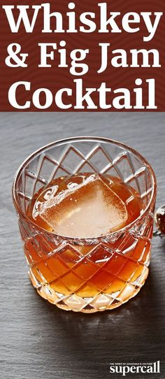 Blending bourbon with a small measure of fig jam is an easy way to turn a spirit into a cocktail. Bourbon Recipes, Bourbon Cocktails, Whiskey Cocktails, Wine Drinks, Cocktail Drinks, Cocktail Recipes, Alcoholic Drinks, Fancy Drinks, Drink Recipes