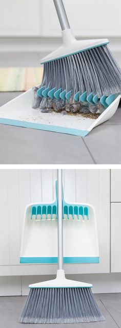 Dustpan with rubber teeth to comb out dust bunnies. Brilliant!