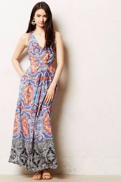 New Anthropologie Womens Blue Printed Medallion-Cut Dress By Maeve Maxi Dress 10…
