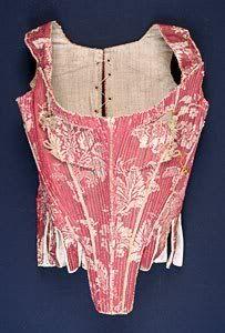 Pink brocade stays from around 1760-70.