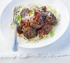 Not sure what to make for dinner? This spaghetti and meatballs recipe is easy and delicious. Find more dinner inspiration at BBC Good Food. Meatball Recipes, Meat Recipes, Cooking Recipes, Healthy Recipes, Freezable Meals, Paleo Meals, Spaghetti And Meatballs, Pork Meatballs, Noodles