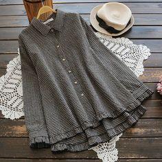 Women's Linen Long Sleeve Check Plaid Shirt Button Down Ruffles Hem Blouse Tops for sale Hijab Fashion, Fashion Outfits, Womens Fashion, Mode Hijab, Blouse Outfit, Looks Style, My Style, Check Shirt, Stylish Dresses