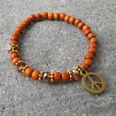 Peace, wood, crystal and peace charm mala bracelet by #lovepray #jewelry