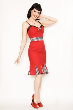 """The """"Lily"""" dress...because you can't go wrong with red, gingham, and bats!"""