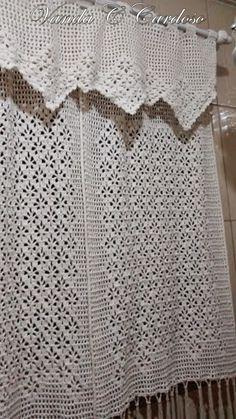 Artesanatos em Crochê Vanda: CORTINA PARA BANHEIRO EM CROCHÊ FILE COM GRÁFICO