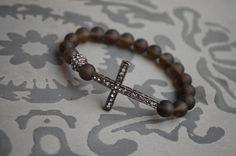 Sideways Cross Gunmetal Bracelet by StringofLove on Etsy, $35.00