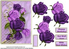 Purple Roses Decoupage Card Front