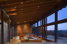 "Valley Residence In Rural Canada Topping A Narrow Ridge: ""this exemplary residence was created by Bobolink Wineskin Jackson...with both social as well as solitary space, the house invites sunlight in, but safeguards the inside from sun burn  with the aid of large overhangs across its single sloped roof..."""