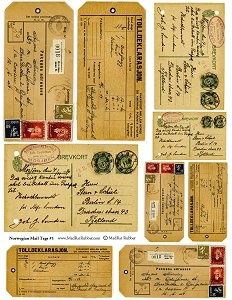 vintage tags and postcards