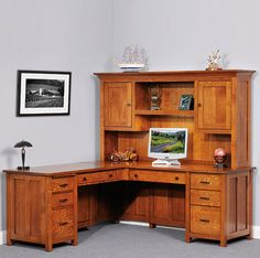 amish made wood furniture set coventry executive corner computer desk u0026 optional hutch - Corner Computer Desks