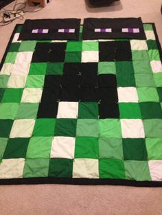 Minecraft 8 Bit Creeper Quilt with enderman by OhSewKute on Etsy