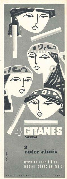 Gitanes cigarettes illustration/ad in Marie-Claire magazine c. 1959.