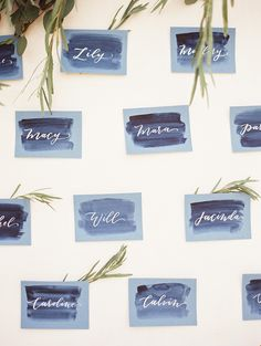 Calligraphy and Watercolor Escort Cards | Krista A. Jones Fine Art Photography | Artistic French Blue Wedding