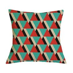 Green and Red Geometric Graphic Pattern Pillow Case