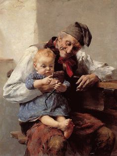 Jakobides, Georgios (1853)- Baby Playing w Grandpa's Pipe -2b
