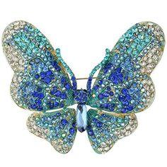 Gold-Tone Austrian Crystal Butterfly Brooch Blue buy at mariescrystals.com