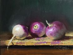 """Doreen StJohn's Instagram post: """"Day 3 #stradaeasel """"Turnip Trio"""", oil. 8x10. #stradaeasel #31daychallenge #oilpaintings #turnips #finearts #dailypainting #paintfromlife…"""" 31 Day Challenge, Oil, Fine Art, Vegetables, Instagram Posts, Vegetable Recipes, Visual Arts, Veggies, Butter"""