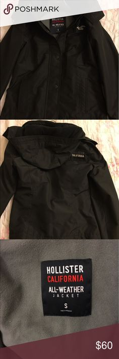 Hollister All Weather Jacket w/ Fleece Lining Selling because it was too small on me Retails for $90 Keeps you really warm with the fleece inside! Hollister Jackets & Coats