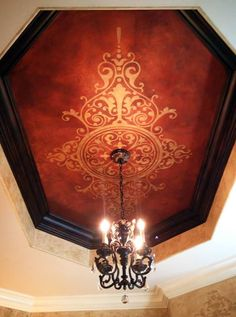 Gwen Woods Ware of Bohemian Spirit Faux Art stencils  finishes a fabulous ceiling with a Modello® Designs Masking Stencil (EasCen133).