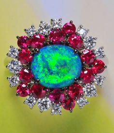 Dreamtime | Black Opal and Burmese Ruby Ring