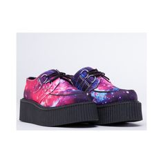 T.U.K. Mondo Creeper (260 PLN) ❤ liked on Polyvore featuring shoes, creepers, galaxy, cosmic shoes, synthetic shoes, punk platform shoes, creeper platform shoes and t u k shoes