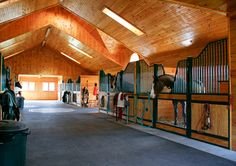 Horse Barn with cathedral wood ceiling Barn Stalls, Horse Stalls, Dream Stables, Dream Barn, Laura Lee, Horse Barn Designs, Horse Ranch, Horse Property, Barn Plans