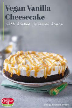 Vegan Cheesecake, Vegan Cake, Cheesecake Recipes, Cheesecake Tarts, Vegan Dessert Recipes, Cooking Recipes, Vegan Milk, Salted Caramel Sauce, Tasty