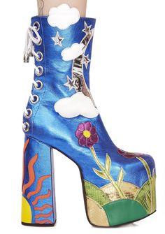 Designer Clothes, Shoes & Bags for Women Rock Boots, Blue Boots, 70s Shoes, Punk Shoes, Crazy Shoes, Goth Platform Shoes, Muses Shoes, Fairytale Fashion, Dream Shoes