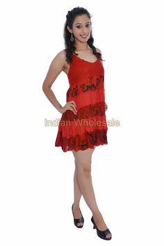Women Cotton Croatia Lace Work Mini Evening Kurti Dress Tunic Top IW15007RD #Handmade #Maxi #Casual