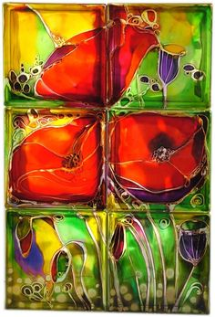 Painted glass blocks...could we do alcohol ink vases?? seal with triple thick glaze?
