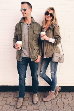 Green Utility Jacket - A His and Hers Fall Closet Staple Pumpkin Patch Outfit, Green Utility Jacket, Green Jacket, Mens Fashion, Fashion Trends, Fashion 101, Female Fashion, Fashion Lookbook, Fashion Bloggers