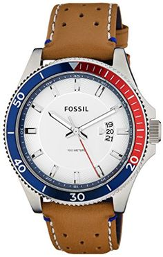 8bab252f06f Fossil Men s FS5054 Wakefield Stainless Steel Watch with Perforated Leather  Band…