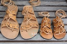 Gold Studded Mommy and Me Greek Spartan Sandals by KandElphy