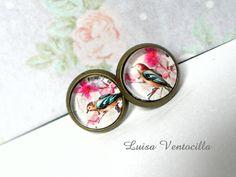 Cabochon Ohrstecker mit Vögelchen 10 mm von Luisa Ventocilla Shop auf DaWanda.com